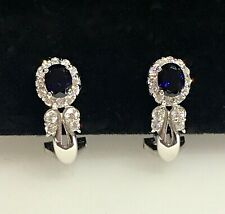 Sapphire & Diamond Earrings 18ct White Gold / Lever back fittings 4.39 grams.