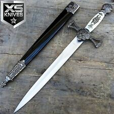 "12"" Medieval Fantasy Stainless Steel Short Sword Brass Decoration W/ Sheath"