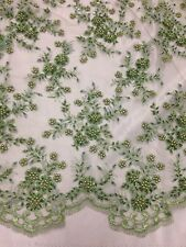 """SAGE MESH W/EMBROIDERY  PEARL BEADS BRIDAL LACE FABRIC 50"""" WIDE 1 YARD"""