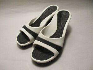 "Crocs Sassari Womens size 5M Black & White 3"" Wedge Heel Slide Sandals"