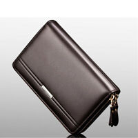 Men Leather Business Organizer Clutch Handbag Wallet Purse Zipper Holder Bag