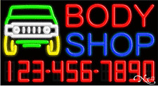 """NEW """"BODY SHOP"""" W/YOUR PHONE NUMBER 37x20 REAL  NEON SIGN W/CUSTOM OPTIONS 15051"""