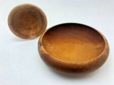 More details for pair vintage hand made wooden bowls chunky beech and sycamore crafted in wales