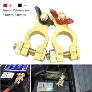 Car Battery Pure Copper Cable Terminal Clamp Clips Connector Negative + Positive