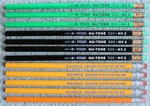 """12 Vtg Unused Pencils: E. Faber """"Nu-Tone"""" 500 No. 2, Empire """"Herald Square"""" 882"""