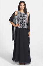 J Kara Black White Embellished Bodice Chiffon Gown & Shawl Size 16