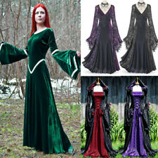 Medieval Dress Halloween Costumes Women Cos Long Dress Robes Bell Sleeve Dresses