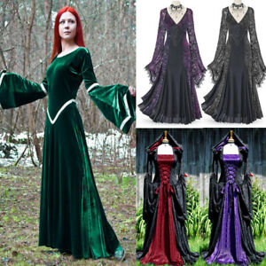 Medieval Dress Halloween Costumes Women Cos Long Dress Robes Bell Sleeve Dresses