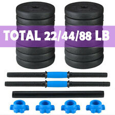 Totall 22/44/88 lbs Weight Dumbbell Set Cap Gym Barbell Plates Body Workout US