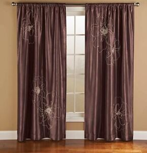 """Innovative Textile Solutions Cheryl Embroidered Choclate Curtain Panel 95"""""""