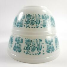2 Vintage Pyrex Amish Butterprint Mixing Bowls Turquoise White Opal #402 #403