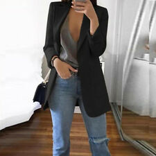 Womens Casual Blazer Jacket Coat Outwear Suit Slim Business Lapel Solid Color