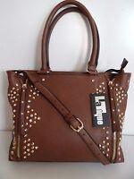 Womens Brown Studded Bella Zip Tote Handbag Shoulder bag Purse NWT
