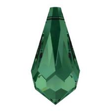 12 Swarovski Crystal 11 X 5.5 Mm Emerald Green Teardrop Pendants Costume Bling