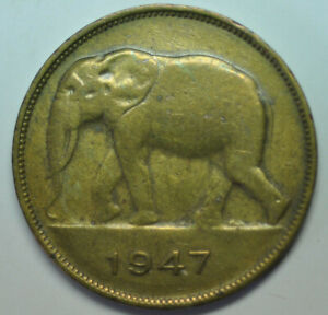 mw16049 Belgian Congo; 5 Francs 1947 African Elephant KM#29