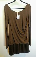 Bailey 44 Dress Brown Long Sleeve Drop Ruched Side Faux Leather Stretch  Large