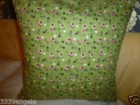 """16"""" NEW CUSHION COVER DESIGNER FRENCH CHIC DITZY FLOWERS SAGE RED GREEN SHABBY"""