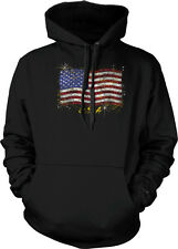 USA Flag Sparkly Gold American 4th Fourth of July Hoodie Pullover Sweatshirt