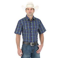 Wrangler Mens Western Cowboy Size XL Short Sleeve Plaid Shirt Navy/Green/Blue