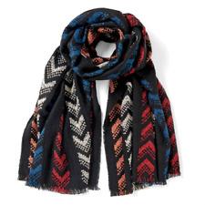 Lightweight LAKE ARROWHEARD Scarf Wrap by Coco + Carmen - Black Red, Blue, Ivory
