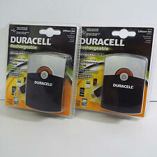 LOT OF 2X DURACELL RECHARGEABLE BATTERY POCKET CHARGER (C1300)