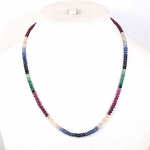 18 Inch Natural Emerald Ruby & Sapphire Necklace Single Strand Faceted Beads