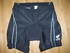 Tyr Shorts Tri Triathlon Womens Medium Nylon Spandex Black with Blue & White