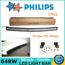 7D TRI-ROW 50INCH 648W CURVED LED LIGHT BAR COMBO OFFROAD 4WD TRUCK ATV CAR BOAT