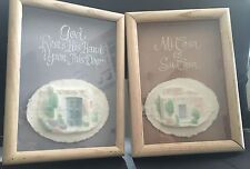 Set of 2 Figi Graphics Hand and Cast Paper Art Pieces Southwestern Shadow Boxes