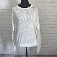Theory Womens Long Sleeve Casual Crew Neck Knit Shirt Top Ivory Cotton Silk Sz M
