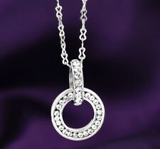 Double Rings CZ Micro Pave Pendant Necklace Forever Together Necklace Best Gift