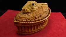 Terrine ancienne Pillyvuit à décor de lièvre en trompe l'oeil, yeux en sulfure