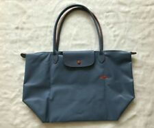 Auth Longchamp Le Pliage Club Collection Horse Embroidery Large Tote Light  Blue ada9748e0fec9