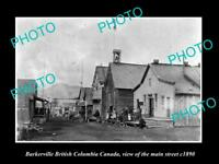 OLD LARGE HISTORIC PHOTO OF BARKERVILLE BC CANADA, VIEW OF THE MAIN STREET c1890