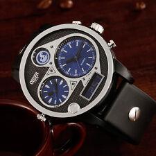 OHSEN Mens Aviator Pilot Three Dial Light Blue Sport Digit Quartz Wrist Watches