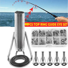 80Pcs Ceramic Fishing Rod Guide Tips Top Eye Rings Line Repair Kit 10 Sizes Set