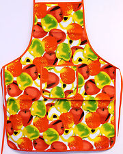 Red & Green Apple Print Kitchen Apron W Pocket Cooking Baking Chefs 100% Cotton