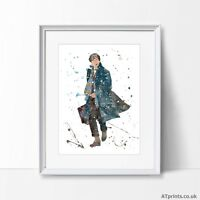 Fantastic Beasts Newt Scamander Print Poster Watercolour Framed Canvas Wall Art