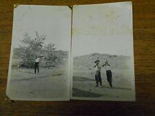 2 Antique / Old Photographs - Man Aiming Rifle - Men Pointing Guns At Camera