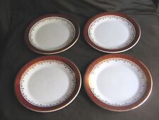 Arklow pottery of Ireland Irish set of 4 side/tea plates burgundy & gold