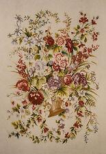 """RRA 70"""" x 92"""" Needlepoint Tapestry Gobelin - Flower Bouquet Vase 013777"""
