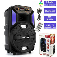 "8"" 1000W Portable Stereo Bluetooth Speaker USB SD Card Reader FM Radio + Remote"