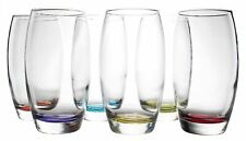 Set of 6 Prism Multi Colored Water Drinking Highball Tumbler Glasses, 16 oz