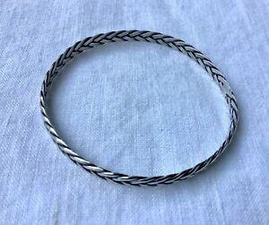 Artisan Sterling 925 Braided Bangle Bracelet