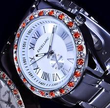 Excellanc Damen Uhr Armbanduhr Silber Farben Metall Strass transparent und rot