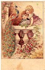 BERTIGLIA Bambini Romanticismo Fiori Pavone Illustratore PC Circa 1920