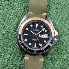 GEOTA SEASCOPER III FELCA AUTOMATIC 42MM MONNIN RARE RED BLACK FADED BEZEL 1980s
