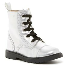 NATURINO Metallic Silver Brogued Leather Boots for Girl Size 29 (11.5) $79