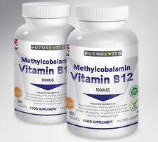 Vitamin B12 1000mcg Methylcobalamin 2 x 180 Tablets Bottles Made UK Futurevits