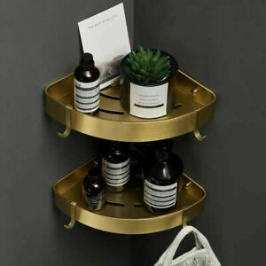 Aluminium Brushed Gold Double Rack Holder Shower Caddy Organizer Bath Storage